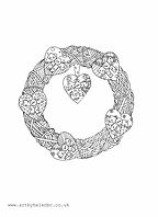 Heart Wreath Colouring Page