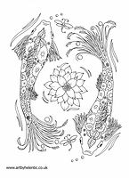 Koi Fish Colouring Page, Koi Fish Illustration