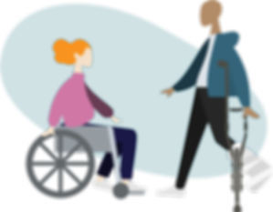 woman in a wheelchair and man standing with crutch
