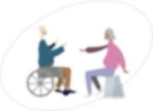 elderly man and woman sitting and talking