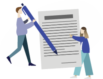 woman holding a paper and man signing