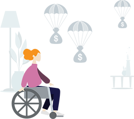 woman in a wheelchair illustration of disability