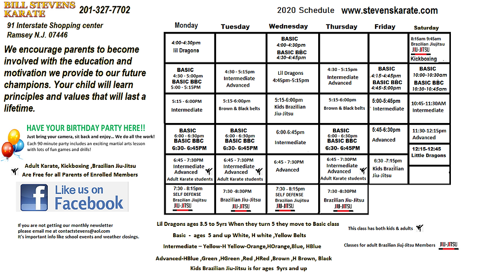Ramsey Nj Karate 2020 schedulenov.png