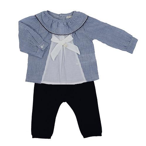 Conjunto blusa rayas