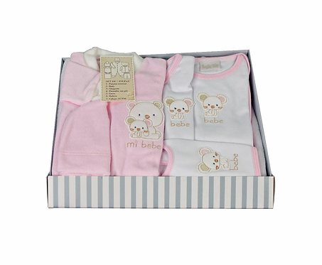 Set primera muda dos ositos caja rosada