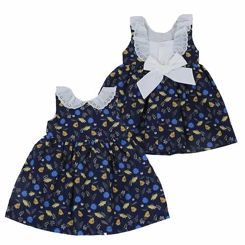 Vestido moño y flores en azul