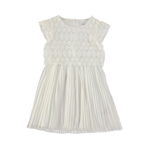 Vestido falda plisada frontal