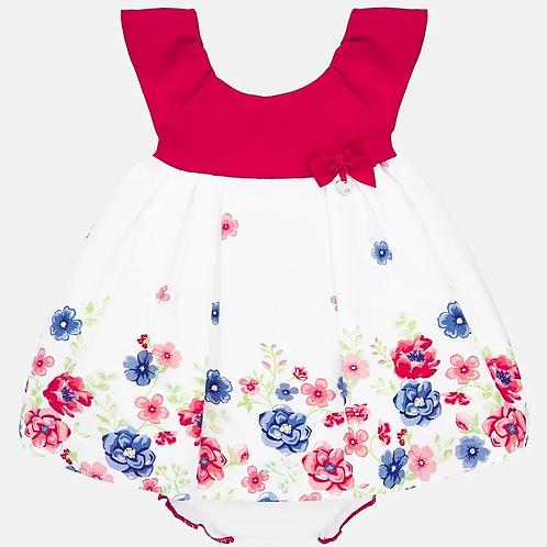 Vestido falda flores rojo frontal