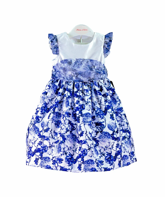 Vestido falda flores azules