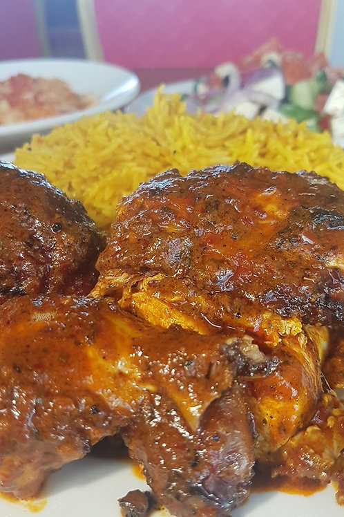 Half Chicken, Biryani Rice and a Side