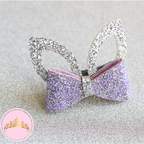 Purple Sparkly Bunny Ear Hair Clip