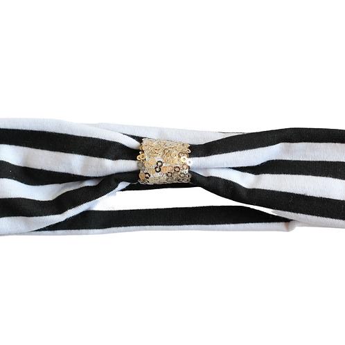 Black and White Stripe Headband