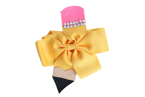 Back to School Pencil Large Hair Bow