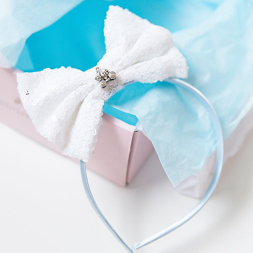 Blue Cinderella Inspired Bow Headband