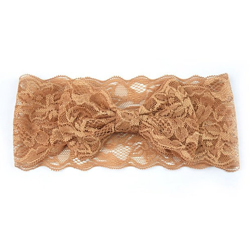Brown Lace Bow Headband
