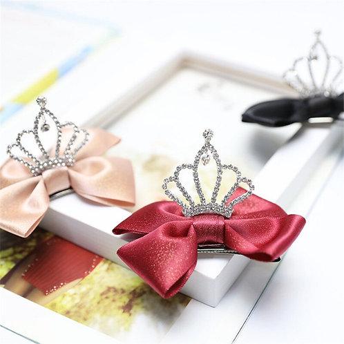 Red Silk Tiara Hair Bow