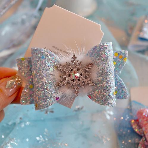 Glitter Snowflake Hair Bow