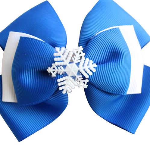Royal Blue Snowflake Hair bow
