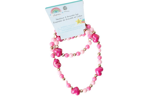 Friendship & Charm Heart Necklace and Bracelet Set