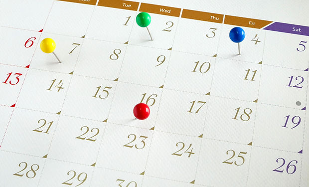 Upcoming events. Calendar with thumbtack