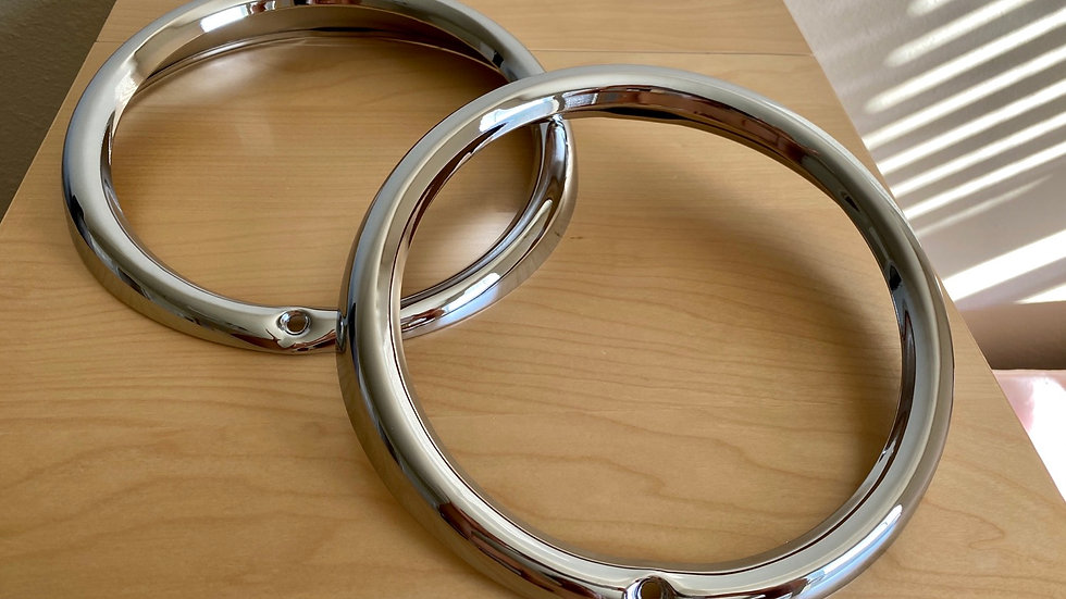 VW Bug Bus Chromed Headlamp Rim Headlight Bezel SET