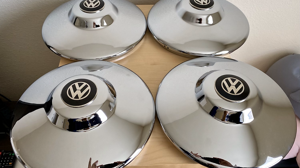 VW BUG BUS GHIA DELUXE CHROME HUBCAP NIPPLE SET NEW.