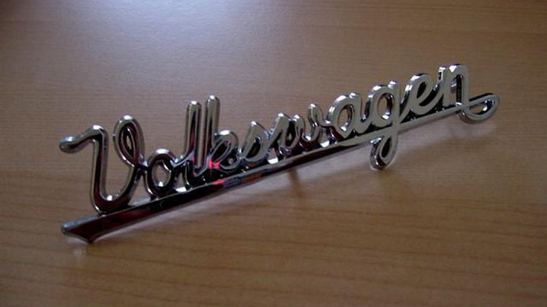 VW Bug Early Split Oval Rear Script Badge Emblem