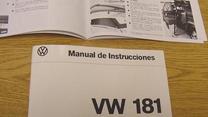 VW Thing Type 181 Safari Owner's Manual Spanish