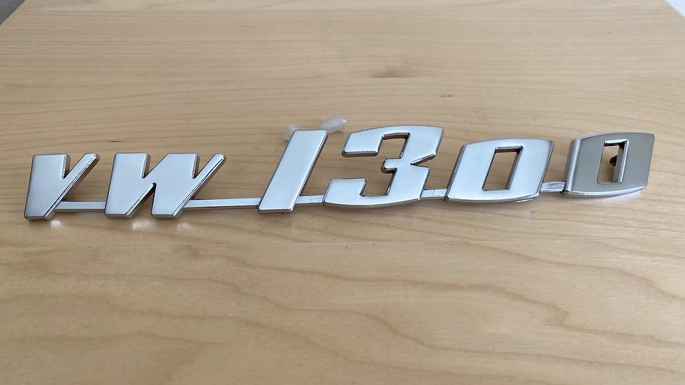 VW 1300 Script Emblem Deck Lid Engine Lid