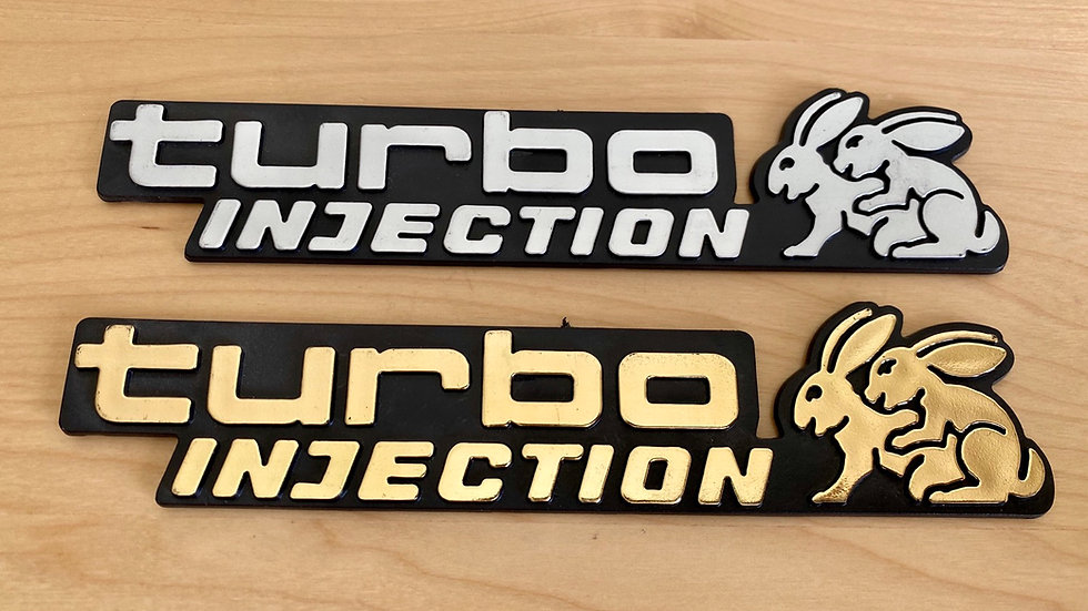 VW RABBIT TURBO INJECTION EMBLEM HUMPING BUNNIES