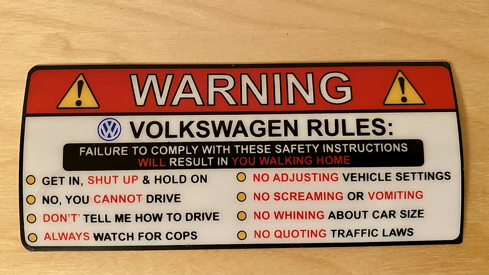 "VW BUG BUS T3 GHIA ""THE VOLKSWAGEN RULES"" STICKERS"