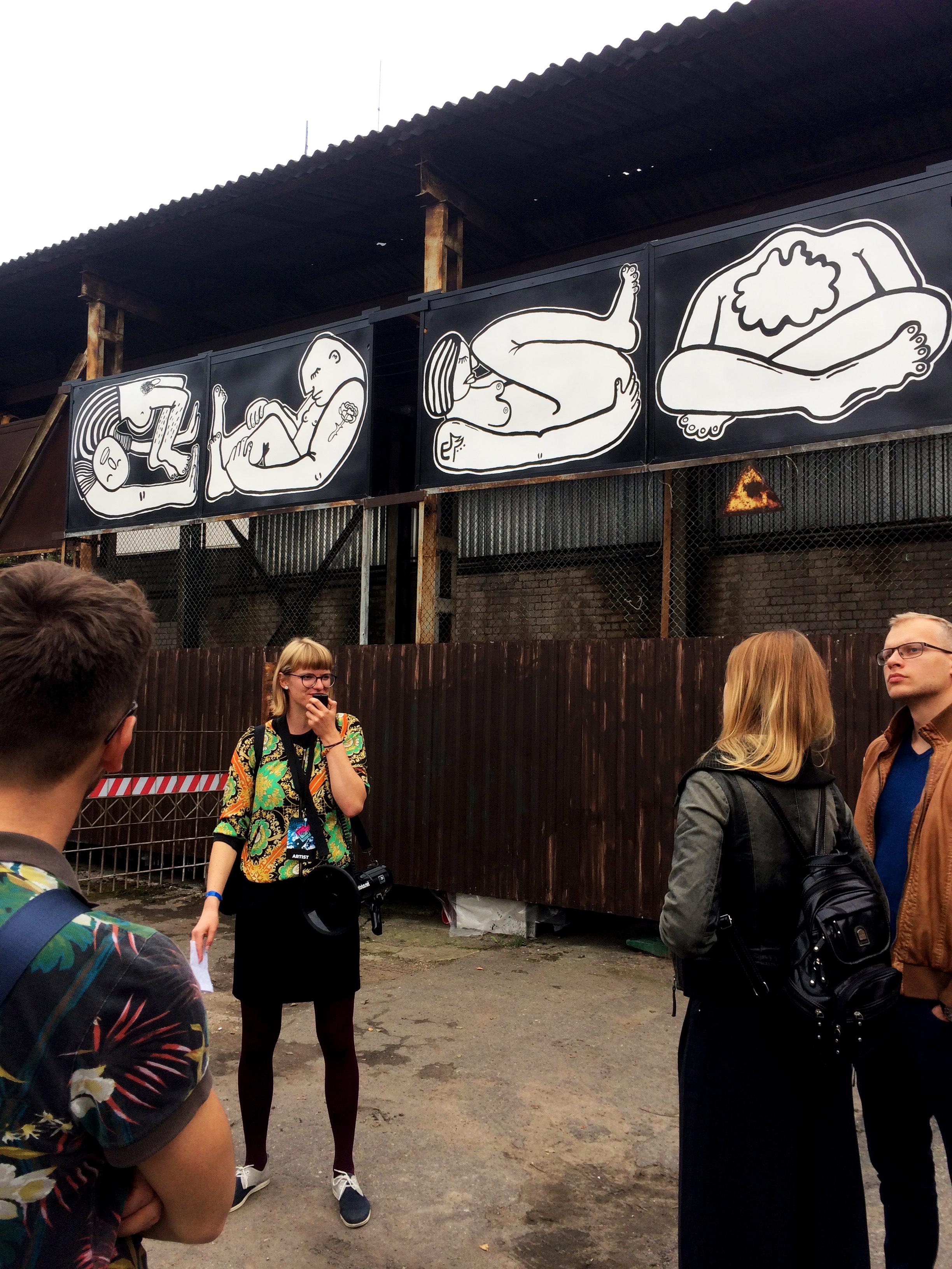 Street art guide Ieva presenting my