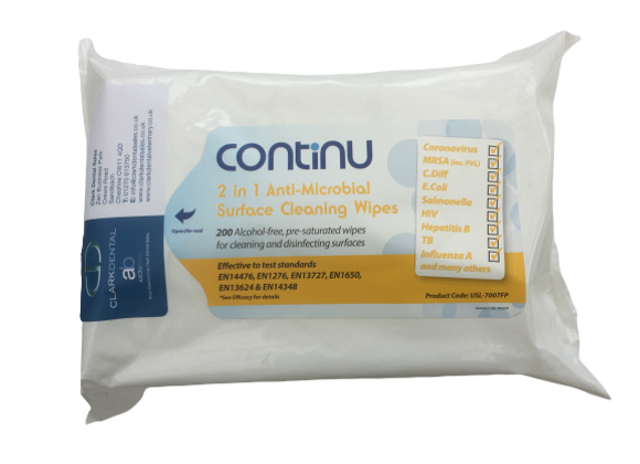 Continu 2 in 1 Wipes - Pack (200) - Pack of 6 Packets