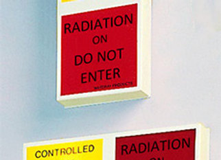 Two stage X-ray warning light