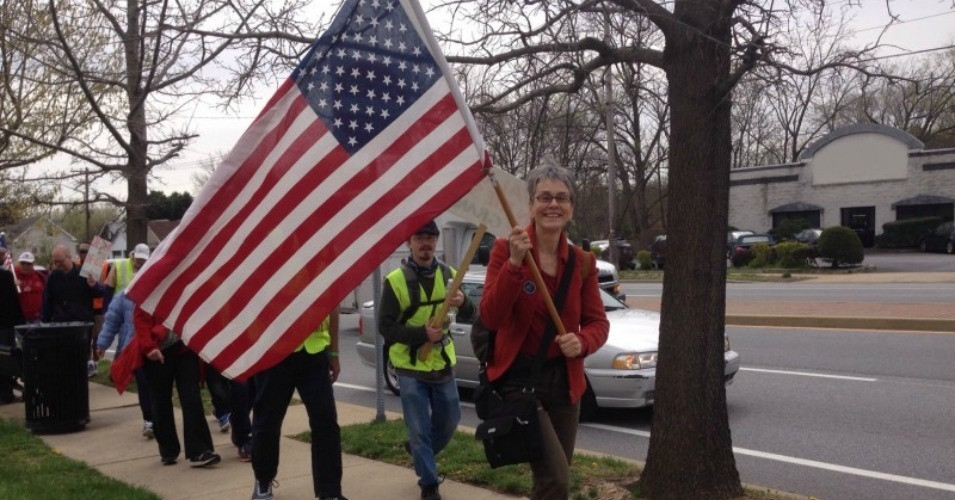 Frances Moore Lappé marching in Democracy Spring from Philadelphia to the Capital steps.  April 2016.