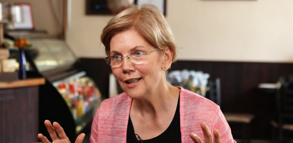 "Sen. Elizabeth Warren sits down with CNBC's John Harwood for a ""Speakeasy"" interview. ""I believe in markets,"" she said. ""But only fair markets.  Markets with rules."" (Source: CNBC video 7/24/2018)"