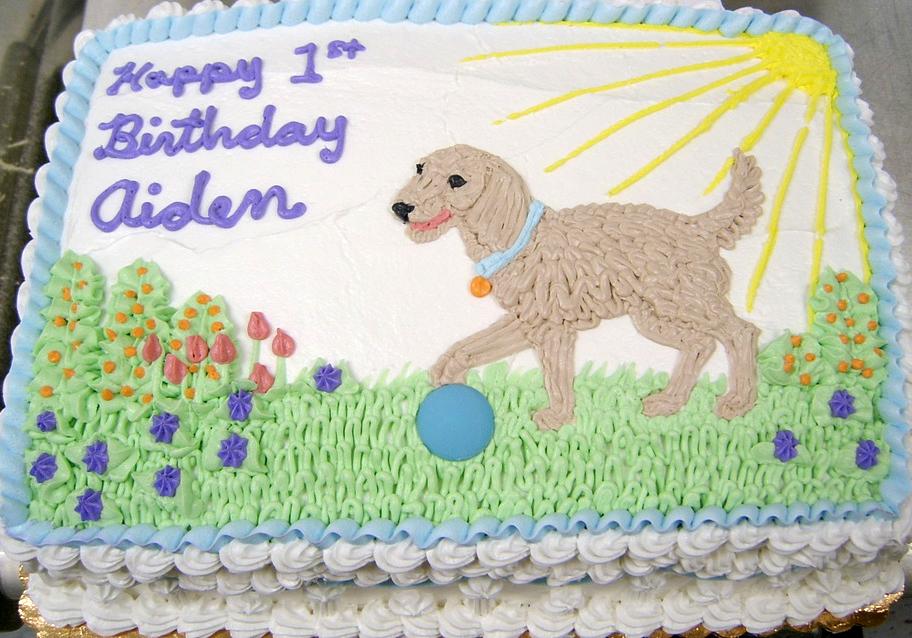 Boy Dog and Ball Cake
