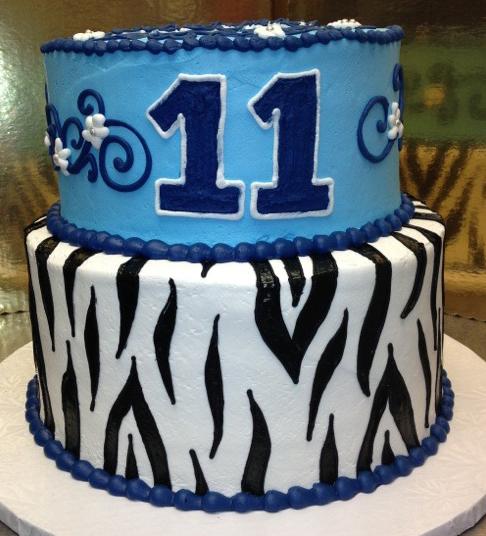 Girl Blue Zebra Cake
