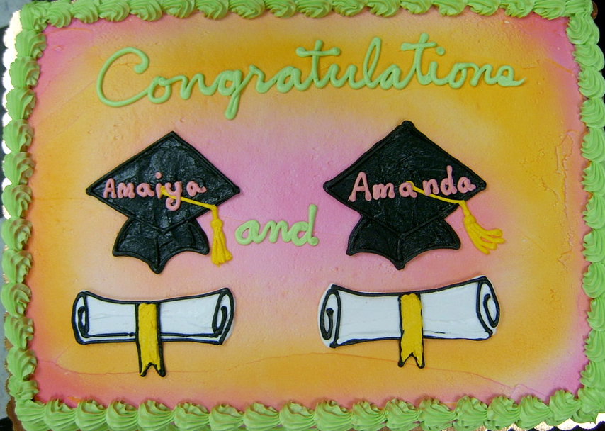 Graduation Dbl Cap and Scroll Cake