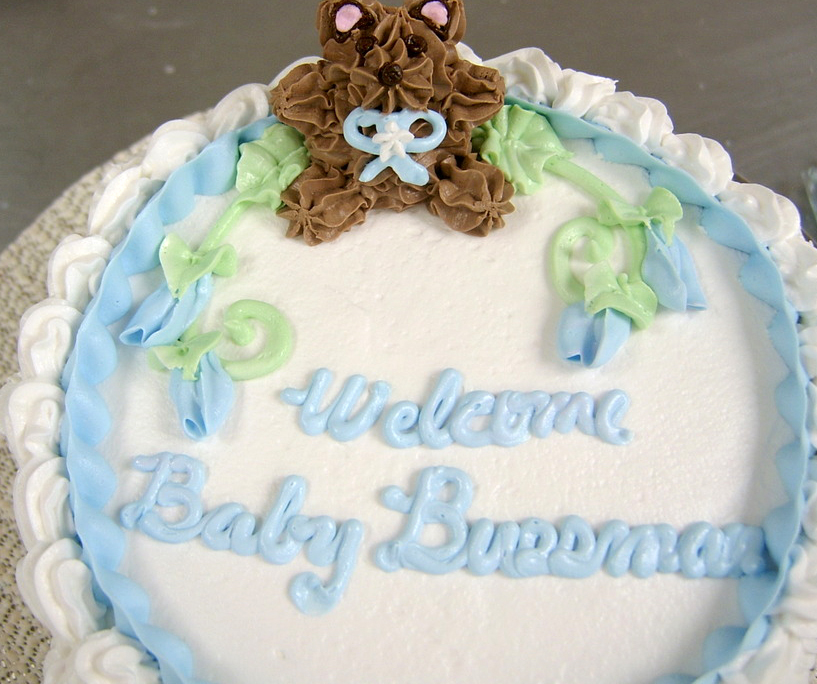 Baby Shower Piped Bear Cake