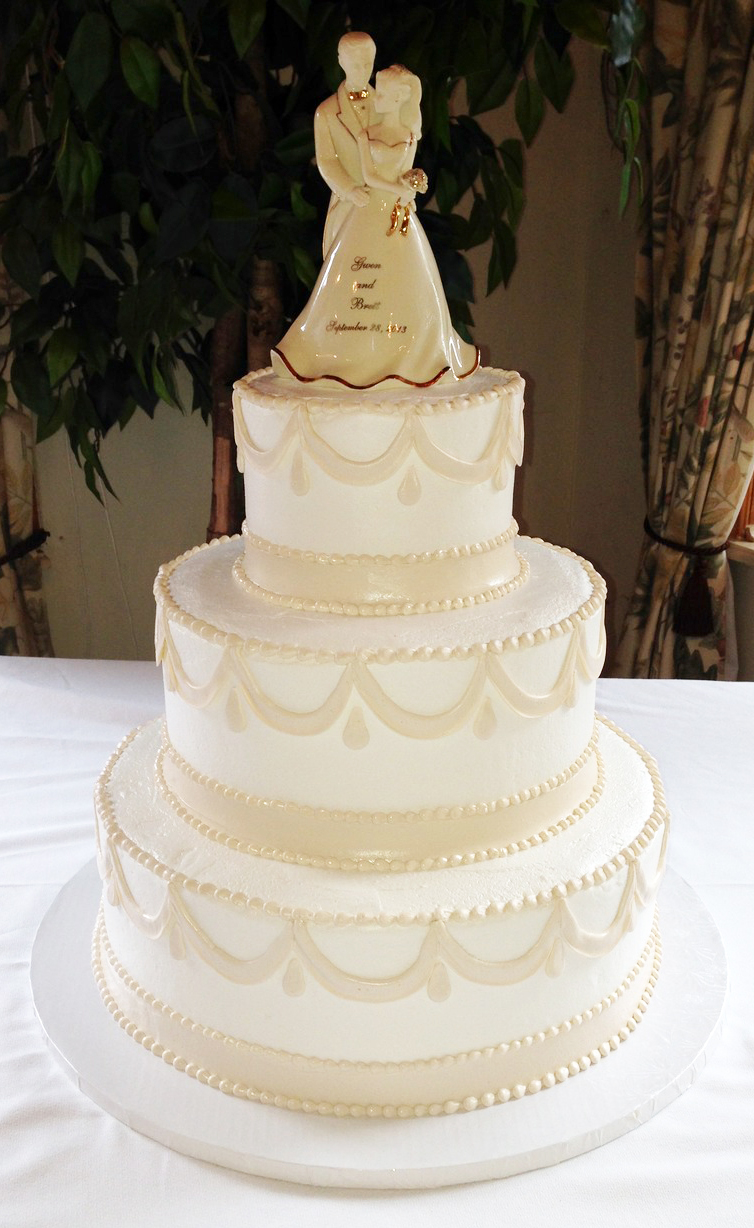 Elegant Taupe Swag Wedding Cake