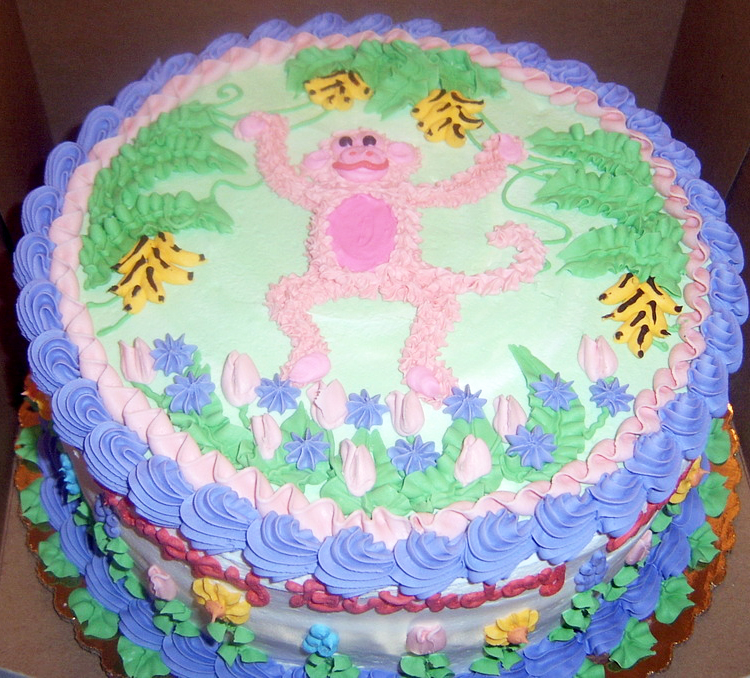 Girl Pink Monkey Cake