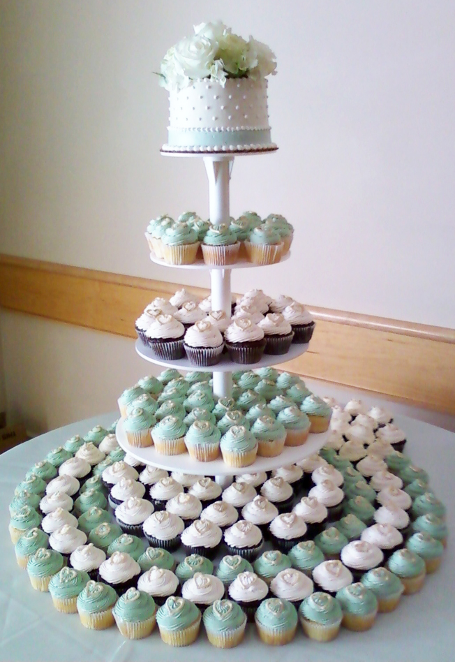 Mint and White Cupcake Tower Wedding
