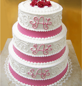 Elegant Monogram Wedding Cake