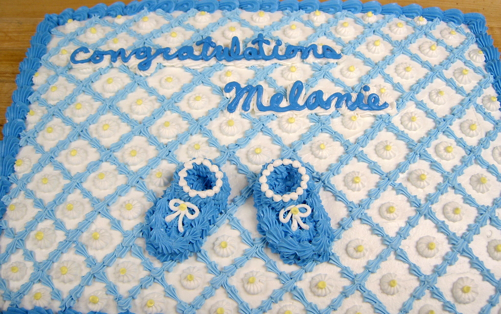 Baby Shower Quilted Top/Booties Cake