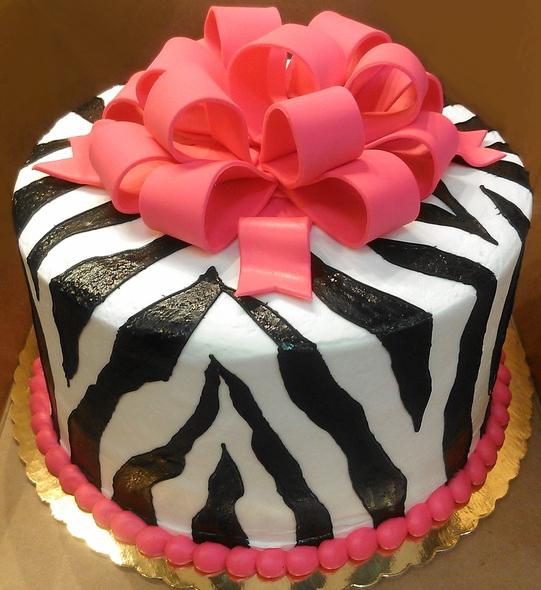 Girl Zebra Stipe Cake