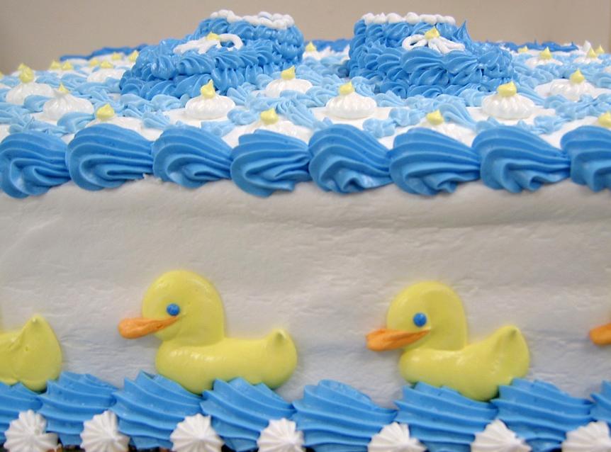 Baby Shower Booties and Ducks Cake
