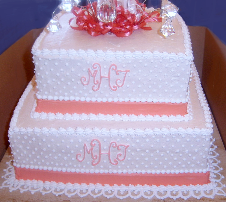 Square Monogram/Dot Wedding Cake