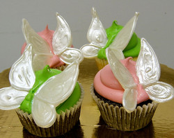 pink and green butterfly cupcakes