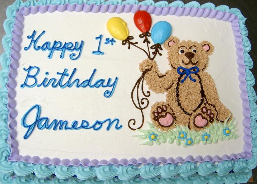 Boy Bear and Balloons Cake
